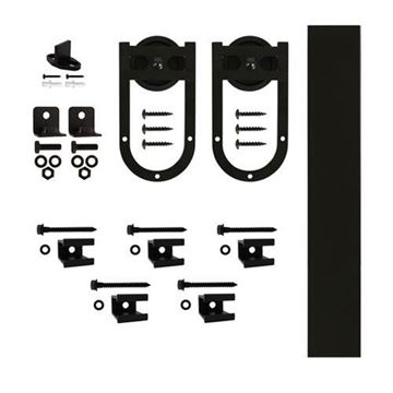Quiet Glide Horseshoe Flat Track Rolling Door Hardware Kit - 3 Inch Wheel