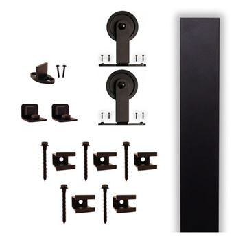 Quiet Glide Top Mount Flat Track Rolling Door Hardware Kit - 3 Inch Wheel