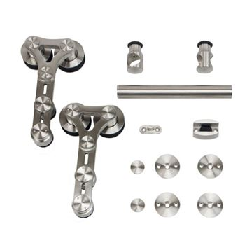 Stainless Glide Dual Wheel Strap Rolling Door Hardware Kit - Wood/Glass Door