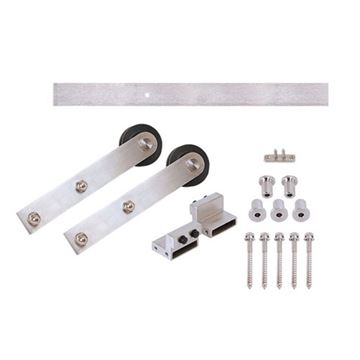 Stainless Glide Flat Rail Stick Rolling Door Hardware Kit - Wood Door