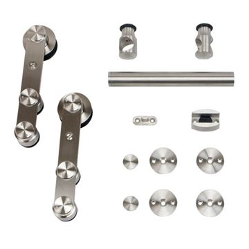 Stainless Glide Strap Rolling Door Hardware Kit for Wood or Glass Door