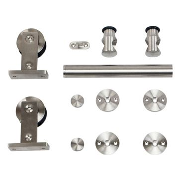 Stainless Glide Top Mount Rolling Door Hardware Kit For Wood Doors