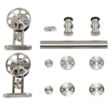 Stainless Glide Top Mount Spoke Wheel Rolling Door Hardware Kit - Wood