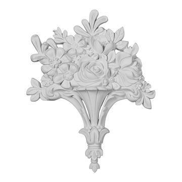 Restorers Architectural Flower Basket Urethane Onlay Applique