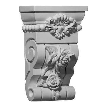 Restorers Architectural Rose 10 Inch Urethane Corbel