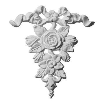 Restorers Architectural Versailles Ribbon & Rose Drop Onlay Applique