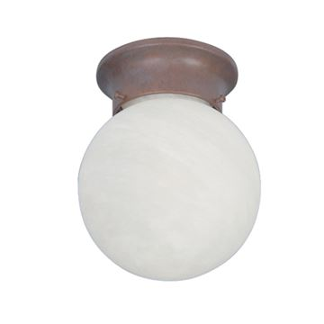 Livex Lighting Ball Flush Mount Light With Alabaster Glass