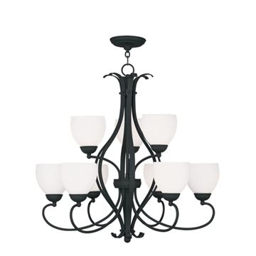 Livex Lighting Brookside 9 Light Chandelier With Satin Glass