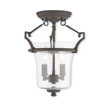 Livex Lighting Buchanan 11 Inch Seeded Glass Semi Flush Light