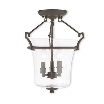 Livex Lighting Buchanan 13 Inch Seeded Glass Semi Flush Light