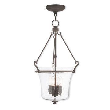 Livex Lighting Buchanan 15 1/2 Inch Seeded Glass Pendant Light