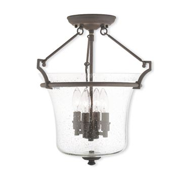 Livex Lighting Buchanan 15 1/2 Inch Seeded Glass Semi Flush Light