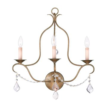 Livex Lighting Chesterfield 3 Light Tall Wall Sconce