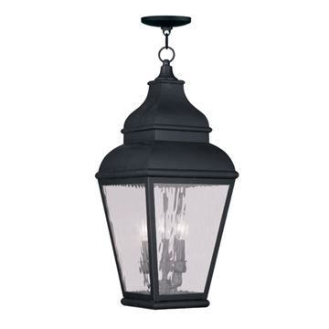 Livex Lighting Exeter Outdoor 3 Light Chain Hang Light - Water Glass