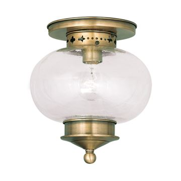 Livex Lighting Harbor 9 1/2 Inch Seeded Glass Flush Mount Light
