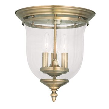 Livex Lighting Legacy Seeded Glass Bell Flush Mount Light