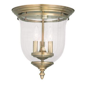 Livex Lighting Legacy Seeded Glass Bell Flush Mount Light
