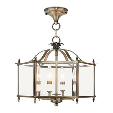 Livex Lighting Livingston 4 Light Beveled Glass Chain/Semi Flush Light
