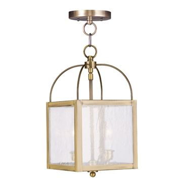 Livex Lighting Milford 2 Light Seeded Glass Chain Or Semi Flush Light