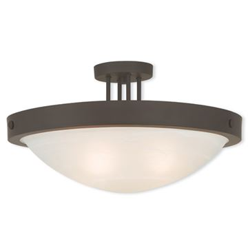 Livex Lighting New Brighton 20 1/2 Inch Alabaster Semi Flush Light
