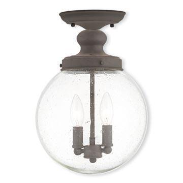 Livex Lighting Northampton 10 Inch Seeded Glass Flush Mount Light