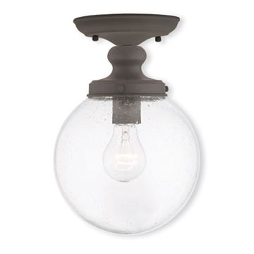 Livex Lighting Northampton 8 Inch Seeded Glass Flush Mount Light