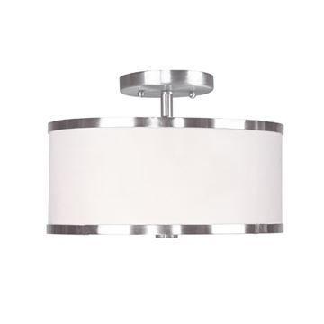 Livex Lighting Park Ridge 11 Inch Semi Flush With White Shade