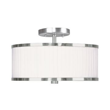 Livex Lighting Park Ridge 13 Inch Semi Flush With White Pleated Shade