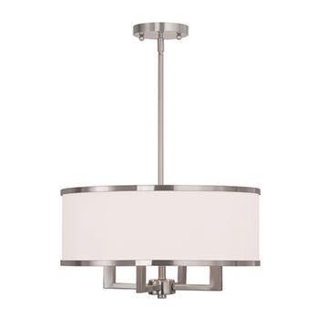 Livex Lighting Park Ridge 4 Light Chandelier With Off-White Shades