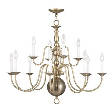Livex Lighting Williamsburgh 12 Light 32 Inch Chandelier