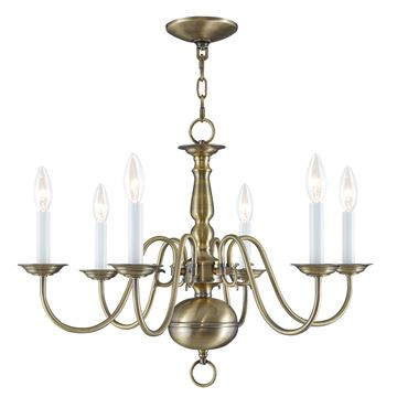 Livex Lighting Williamsburgh 6 Light 24 Inch Chandelier