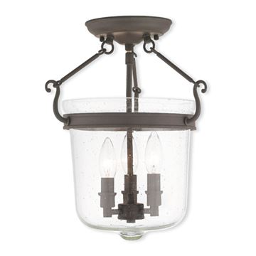 Livex Lighting Winchester 12 Inch Seeded Glass Semi Flush Light