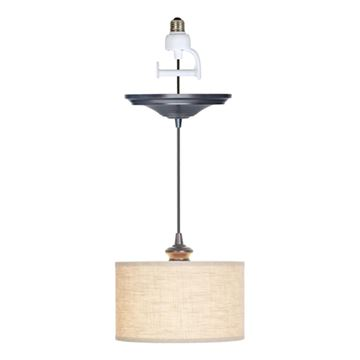 Worth Home Instant Pendant Light with 10 Inch Linen Shade