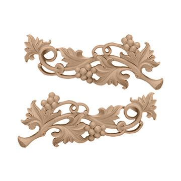 Restorers Architectural Medium Grape Scroll Onlay Appliques - Pair