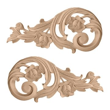 Restorers Architectural Medium Rose Scroll Onlay Appliques - Pair