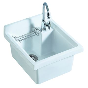 Whitehaus 18 1/2 Inch Vitreous China Single Bowl Drop In Utility Sink