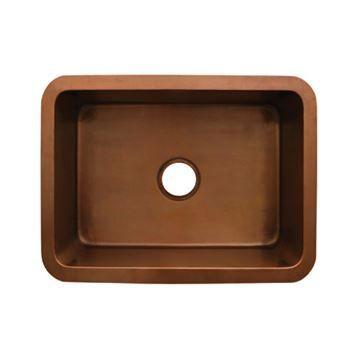 Whitehaus Copperhaus 25 Inch Smooth Undermount Kitchen Sink