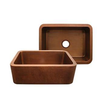 Whitehaus Copperhaus 25 Inch Undermount Kitchen Sink With Hammered Front Apron