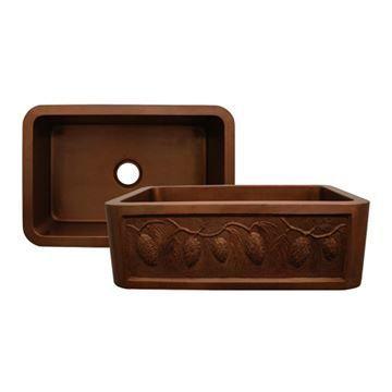 Whitehaus Copperhaus 30 Inch Pinecone Apron Single Bowl Kitchen Sink