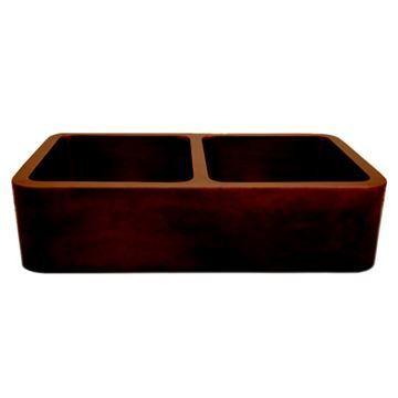 Whitehaus Copperhaus 36 Inch Double Bowl Undermount Smooth Kitchen Sink