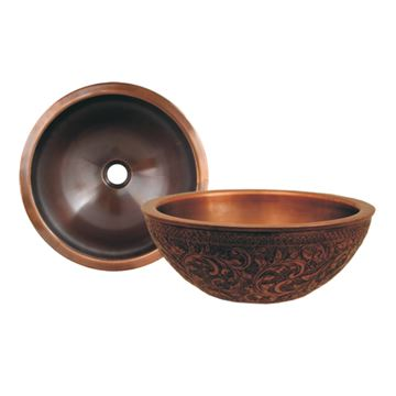 Whitehaus Copperhaus Floral Round Copper Vessel Sink