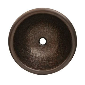 Whitehaus Copperhaus Hammered Round Drop In Lavatory Sink