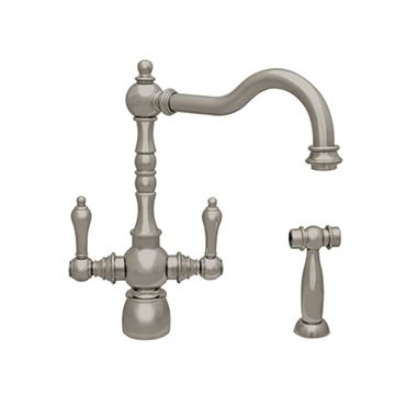Whitehaus Englishhaus Single Hole Dual Lever Kitchen Faucet & Sprayer