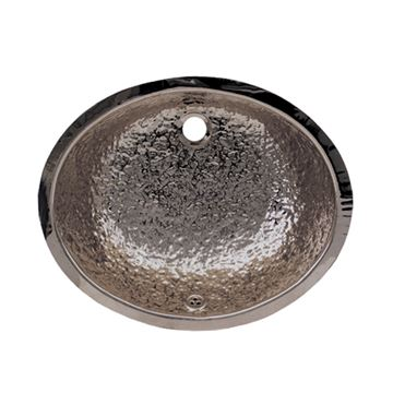 Whitehaus Hammered Oval Stainless Steel Undermount Lavatory Sink