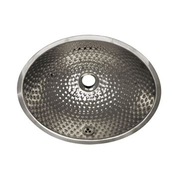 Whitehaus Hammered Stainless Steel Oval Drop In Lavatory Sink