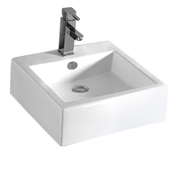 Whitehaus Isabella 18 1/2 Inch Square Wall Mount Lavatory Sink