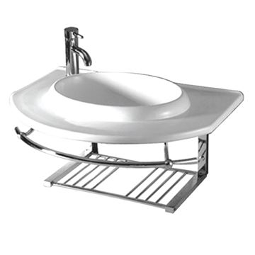 Whitehaus Isabella Large Wall Mount Lavatory Sink With Shelf & Towel Bar
