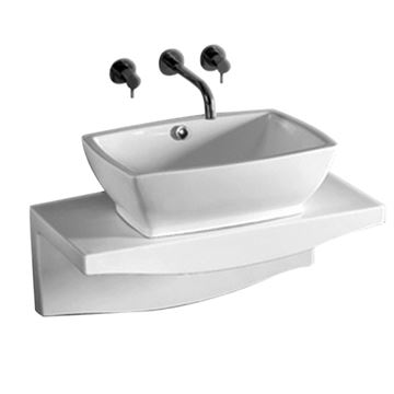 Whitehaus Isabella Rectangle Vessel Sink With Wall Mount Counter Top