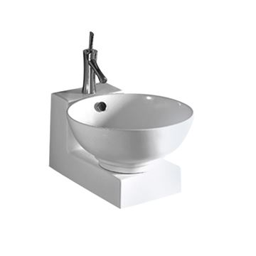 Whitehaus Isabella Round Vessel Sink With Wall Mount Base