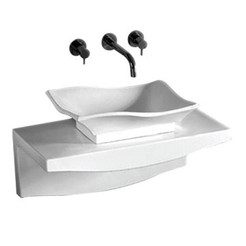 Whitehaus Isabella Wave Vessel Sink With Wall Mount Counter Top